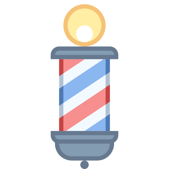 Słup przed fryzjerem icon. The classic image of a two-dimensional barber pole. A long roman column diagonally striped, topped by a single circle. The ball is approximately the size of a fifth of the length of the column, and occupies the middle third of the pole it rests upon.