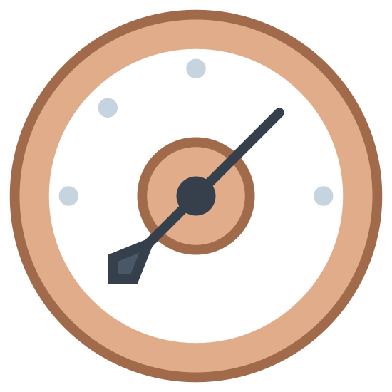 Baromètre icon. The icon is a simplified, old-style gauge. A circular case encloses an incomplete circle of dots, representing the different levels to be read off of the gauge, with an arrow pinned in the center, with an arrowhead on one side, and a tail on the other side. The arrow is pointing northwest.