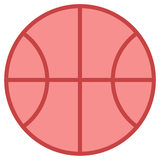 Basketball icon. This is a very simple icon of a basketball. It's made of a medium sized circle with curved lines running through the middle. These lines are curved in such a clever fashion that they clearly show the center of the ball belling out due to the air inside of it.