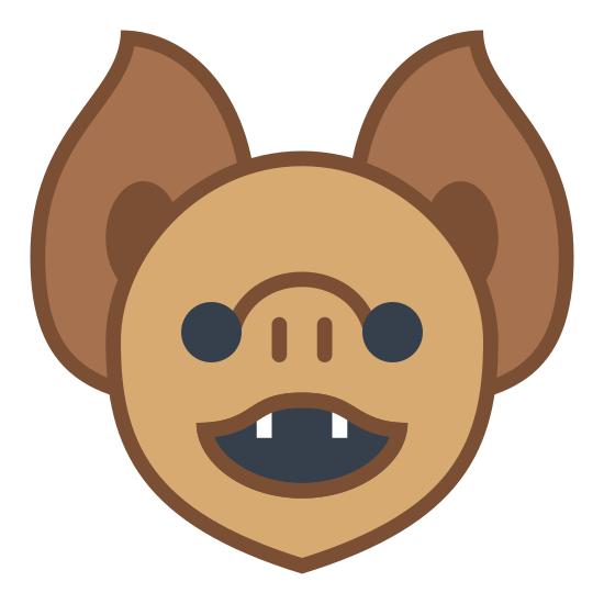 Bat Face icon. This is a picture of a bat's face. you can see it's fangs and two ears pointing upwards. it's eyes are on the side of it's nose, which looks like a pig's nose. it's mouth is open also