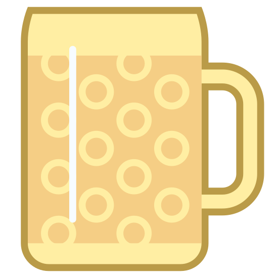 Beer Mug icon. There is a rectangle with a circle and half circles in it as design. there is a handle on that rectangle for someone to hold it with. the rectangle also has one line on the top