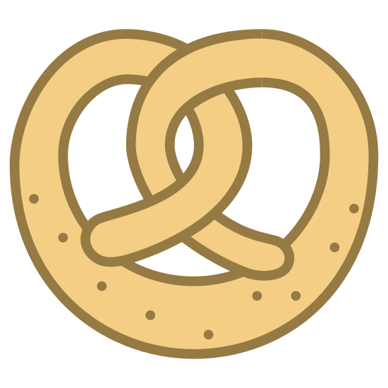 Bawarski precel icon. This image shows a pretzel. it has a couple twists in it that interlap. the whole object looks like a circular shape. it has 9 dots on the pretzels bottom