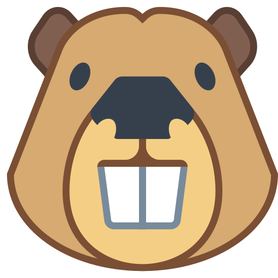 Beaver icon. The face of the beaver stands out for it's noticeable buck teeth. The face is round shaped with visible ears and a nose. The two buck teeth quickly help to identify it as a beaver.