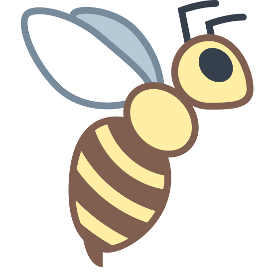 Pszczoła icon. The icon is depicting a bee. The bee is facing towards the right and has wings, antennae, and a stinger. On the bee's abdomen are three horizontal lines segmenting it.