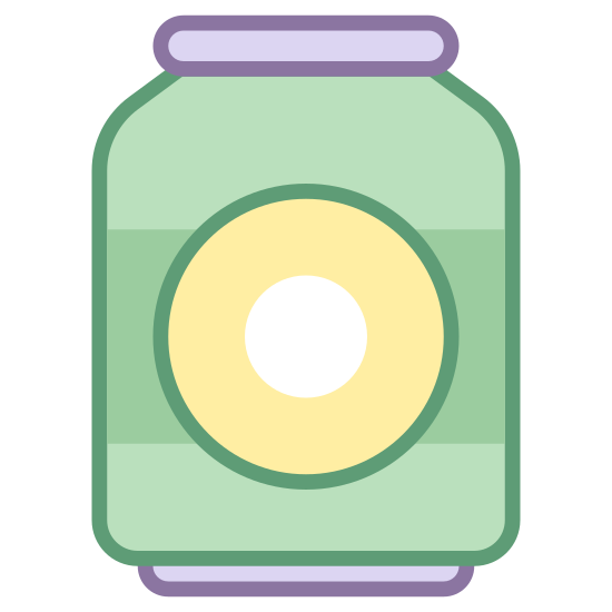 Beer Can icon. The general shape is a cylinder that is taller than it is long and slightly tapered at the top. There is a flat rectangle on top with rounded corners. There are two lines that run horizontally along the cylinder with a small gap in each one.