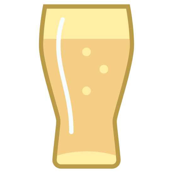 Beer Glass icon. There is a vertical rectangle with curvy sides and a slightly curved inward bottom. There's an oval in the middle and a straight line separating the top tenth space of the glass shape.