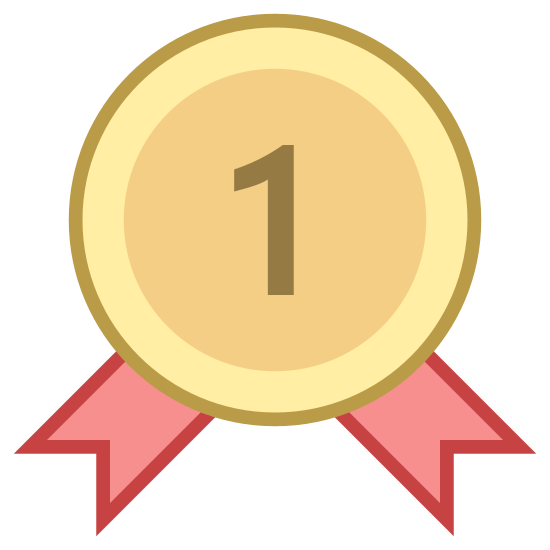 """Best Seller icon. This is a picture of an award ribbon for being number one or first place. it has the number """"1"""" with two stars on each side of it. around the inside perimeter of the ribbon are dots"""