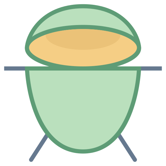 BBQ Grill icon. It's a logo of Big Green Egg reduced to an image of an egg cracked open. The egg looks like it was cracked more towards the north side. It looks just like the logo on Big Green Eggs website.