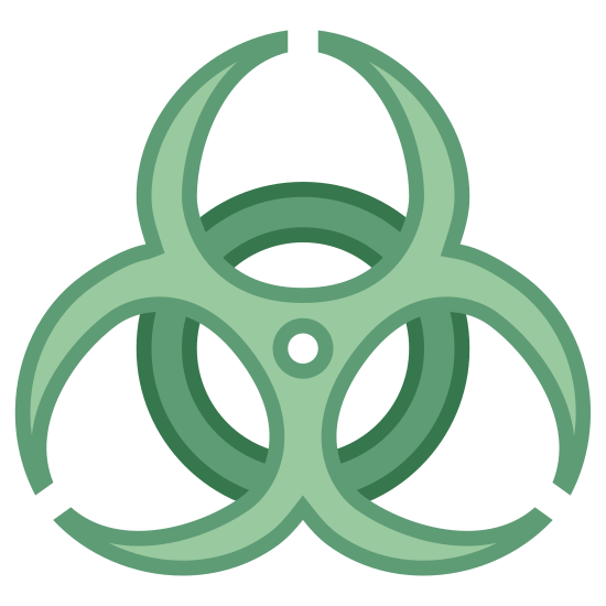 Zagrożenie biologiczne icon. It's a closed off circle, like a ring, with an almost flower like shape on top of it. This flower like shape is make of three almost closed off letter c's, which are incomplete circles, at different angles and anchored to the center of the ring beneath them with a single dot.