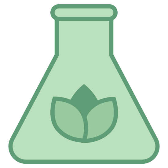 Biomasa icon. It looks like a little flower inside of a science beaker. The flower is simply the bulb without the stem and its resting near the bottom center of beaker.