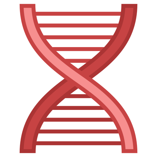 Biotech icon. The Icon of Biotech is a flat 2d helix shape that you command find that represent dna. Between the helix are straight lines that go across the helix structure like steps in a step ladder.