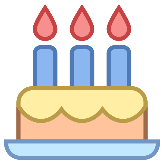 Birthday icon. There is a rectangle, with a wavy line in it - this is to show a cake and frosting on it. There are three candles on top of the cake evenly spread out. They each have a flame on top of them.