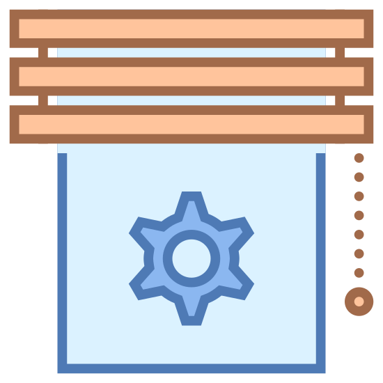 Blinds icon. This shows a gear with 6 spokes at the bottom. One the top there is a comb with six bars and to its left is another thinner comb with six bars. There is a small pendulum with a small ball on the right side.