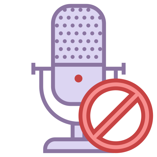 Выключить микрофон icon. There is an image of a microphone. There is a circle with a diagonal line through it in front of the microphone.