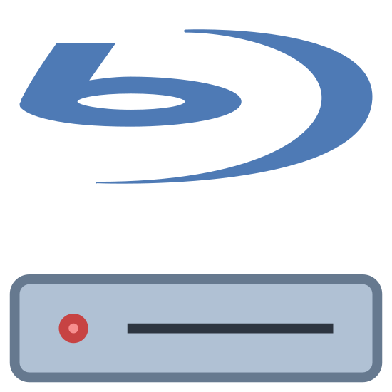 """Odtwarzacz Blu Ray icon. The icon is a  blu ray disc player. The play has an icon that looks like a half moon with the letter """"b' besides it. Underneath this you see a rectangle with a small rectangle and circle in it."""