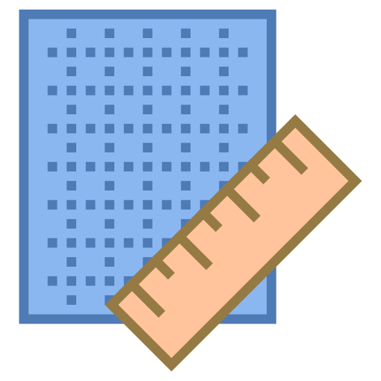 Plan icon. The icon is a simplified depiction of a piece of grid paper with a ruler across its southeast corner. The grid paper is an angular piece of paper, with sets of parallel dotted horizontal and vertical lines extending across the expanse of the paper. The icon symbolizes a blueprint.