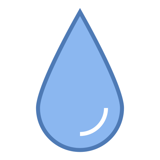 Blur icon. The icon is shaped simply like a tear drop falling downwards. The bottom of the shape is a curved semi circle and the top part of it is pointed like a triangle.