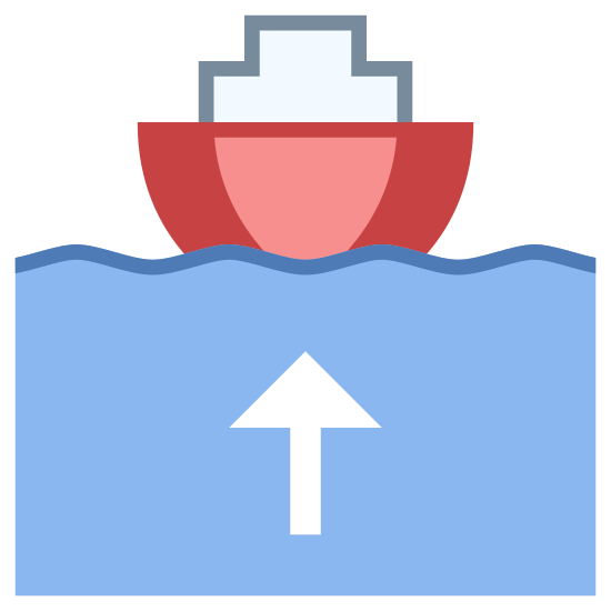 Okręt opuszczający port icon. It's a logo of Boat Leaving Port reduced to an image of a small boat with a current behind it. In the current behind the boat there is an arrow that shows the direction the boat is heading.