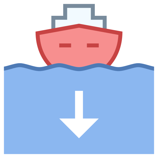 Boat Returning To Port icon. This image is composed of a boat shape with the bow pointing towards the viewer.  The bow of the ship has two dots on either side of it and there is a seagull shaped line representing a wave.  Above the boat is a arrow that is pointing downwards to the ship.