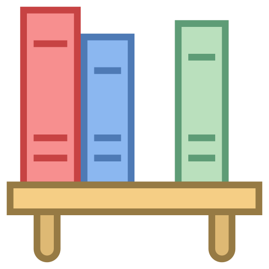 Book Shelf icon. The Book Shelf icon is a small table with two short legs with four books on top of it.  Three of the books are sitting straight up including two tall ones and a short one.  The fourth book to the right is gray and is leaning against the third.