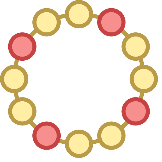 Pulsera icon. The image is of a circle. The circle is composed of little circles that are connected by dashes in between each on that completes the circle. There is nothing in the center of the circle or on the outside of it.