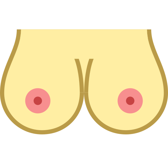 Breast icon. It is a pair of female breasts. They are nude with exposed, medium-sized circular nipples. The breasts are fairly large in size (probably a C cup) and are perfectly round at the bottom, just touching in the middle.
