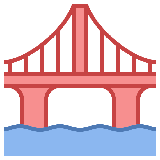 Most icon. This image is depicting a sturdy bridge over a body of water. The bridge is clearly defined by its archways and has rail guard on top of the structure with two wavy lines underneath the bridge.