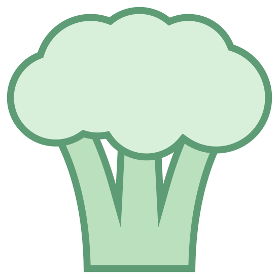 Brocoli icon. This is a picture of a piece of broccoli with a puffy top. it has three legs and a flat bottom. the broccoli is by itself so it is just simply representing the piece of food