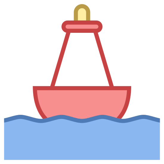 Buoy icon. This is an image of a buoy. There are two squiggly lines at the bottom which represent water. Above this is the buoy, which has a semicircular base pointed upwards. On this is a quadrilateral, and above this a rectangle. At its very top is a small semicircle.