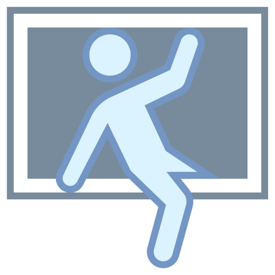 Włamanie icon. This is an image of a rectangular window.  Going through the window is a two-dimensional human figure.  The figure is already halfway through the window, with each of its legs hanging on either side and its arms outstretched.