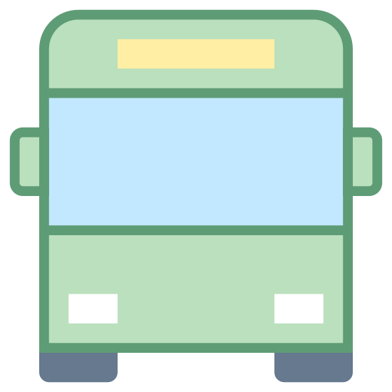 Bus icon. A square is used to create the body of the bus. A rectangle placed closer to the top than the bottom is used for a windshield. A very narrow rectangle is between the top of the rectangle and the highest point of the square, which is where a route or street name is typically found. A thin rectangle on either side of the square is used for mirrors and two small rectangles are beneath the square and aligned with the sides for the wheels. There are also two small circles near the bottom of the square for headlights.