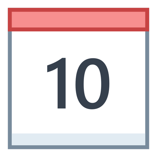 Kalendarz 10 icon. There is a square calendar box with a header and two pins on top. Inside the square is the number 10.
