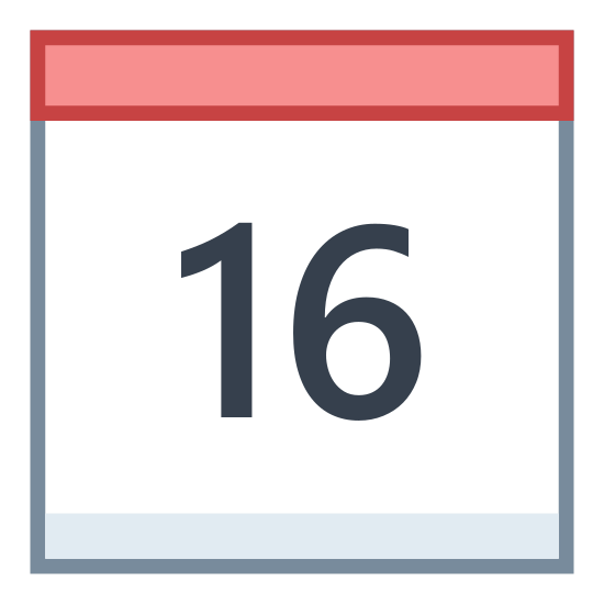 Calendar 16 icon. It's a square with two ring-like objects attached to the top, to indicate that this is a calendar that would flip to change the date each day. Inside the square is the number 16, to signify the 16th day of the month.