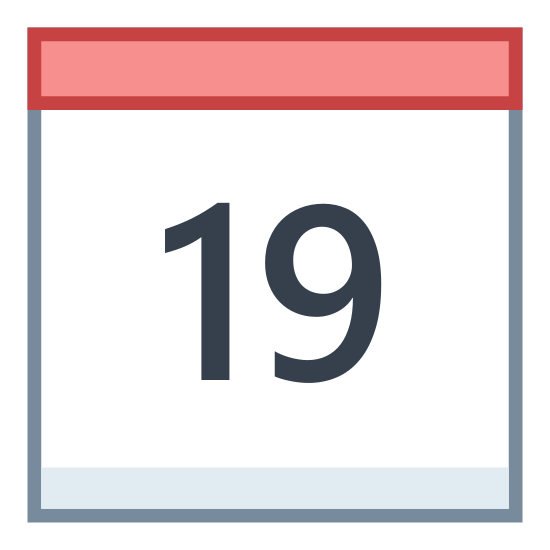"""Kalendarz 19 icon. This is a picture of a calendar with the number """"19"""" showing on the front. it has two small rings at the top holding the pages together, and a bar that would most likely be for the month's name."""