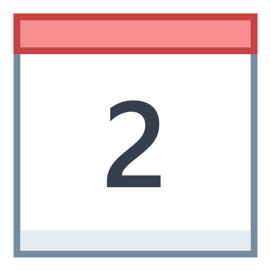 Calendar 2 icon. There is a large square with the number 2 printed in side. On top of the rectangle butted against it is a short rectangle that is the same with as the square. From its top equally spaced is 2 vertical running tiny rectangles for the hinges.