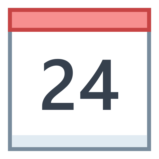 Kalendarz 24 icon. This is an icon of the number 24 in a calendar. The calendar is a direct reflection of the image of a calendar hanging on a wall. It appears with two binders on top. A top section of the calendar were the clips are and a bottom section where the number is.