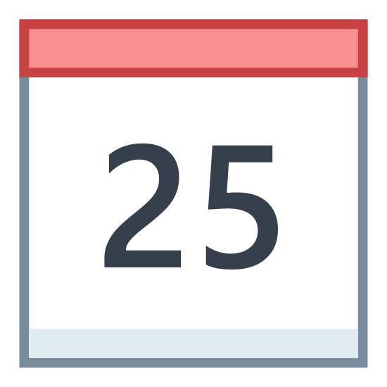 Calendar 25 icon. This icon is depicting a calendar with a number 25 on it. The object is rectangular shaped with a solid horizontal line dividing the topmost part from the bottom. In the center of the calendar is the number 25.