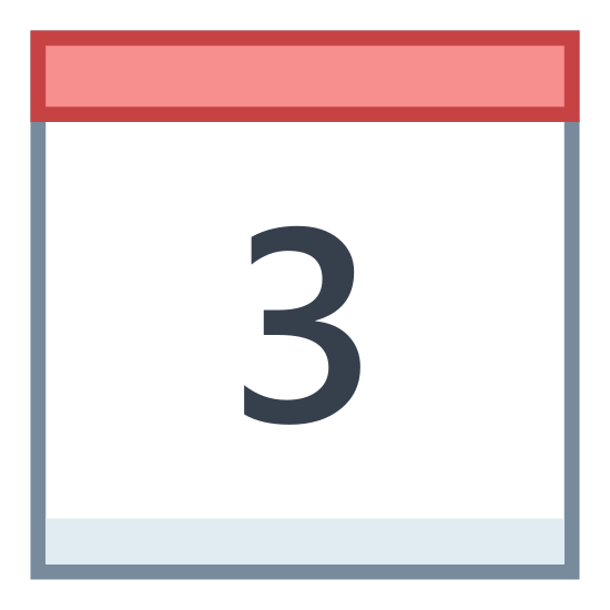 Calendar 3 icon. This is the number three in the middle of a square. There is a line drawn horizontally across the top of the square. There are two little tabs attached to the top of the box.