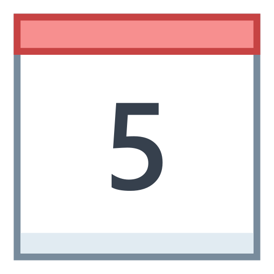 """Kalendarz 5 icon. A rectangle with the short sides vertical. On top of this a rectangle of the same length, but 1/4 height. 1/4 of the way in from each side are two small upright rectangles, where half extends above the top of the small rectangle and half extends 1/4 into the small rectangle. Inside the large rectangle is the number """"5""""/"""