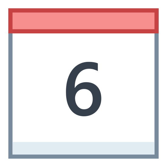 "Kalendarz 6 icon. It's a logo of a calendar page with two rings on top and the page hanging down from them. There's a line across the top of the page and then in the lower bigger section is the number ""6""."