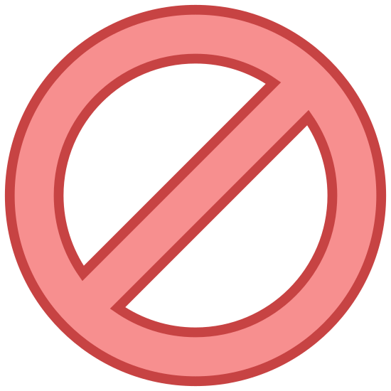 "Unavailable icon. This icon is of a circle with a slash mark running from the upper left hand corner to the lower left hand corner. This is the standard icon for ""cancel"" or ""end"""