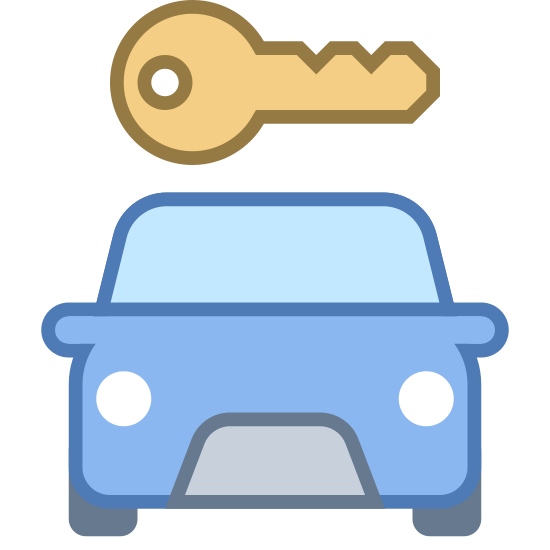 Car Rental icon. The image is of a car. The front part of the car is shown. Directly above the car is a key. The length of the key is almost the width of the car. The two items are not touching each other.