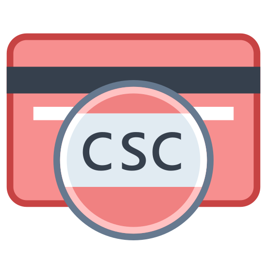 Kod bezpieczeństwa karty icon. This icon is showing a blank card with part of it enlarged to show detail. The card is a rectangle with curved edges, and inside the rectangle is a thick, black bar extending horizontally from one end to the other. Circled and enlarged to show detail are the letters CSC which stands for Card Security Code.