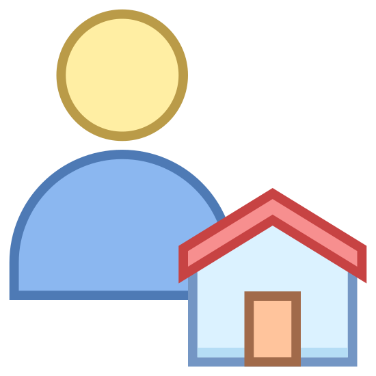 Hausmeister icon. This is a drawing that has a person on the left side and a small house on the right side. The house has a roof on the top and a door right in the middle.