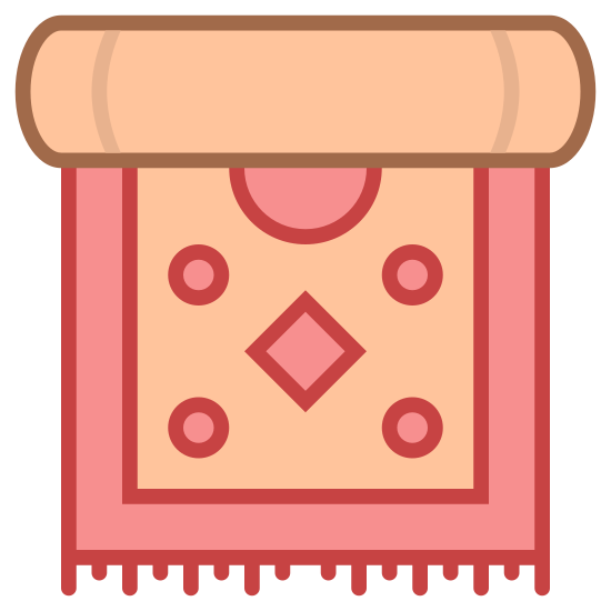 Dywan icon. The icon displays a rolled up carpet. The carpet is rolled at the top, and part of it unrolls at the bottom. It has fringes at the bottom. There is a diamond pattern on the carpet, and a box around the outside.