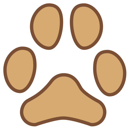 Ślad kota icon. This is a small cat footprint. It is very simple, with a rounded triangular pad and four oval toes. The two toes above the pad of the paw are right next to each other, with the other two toes on each side and below the top toes.