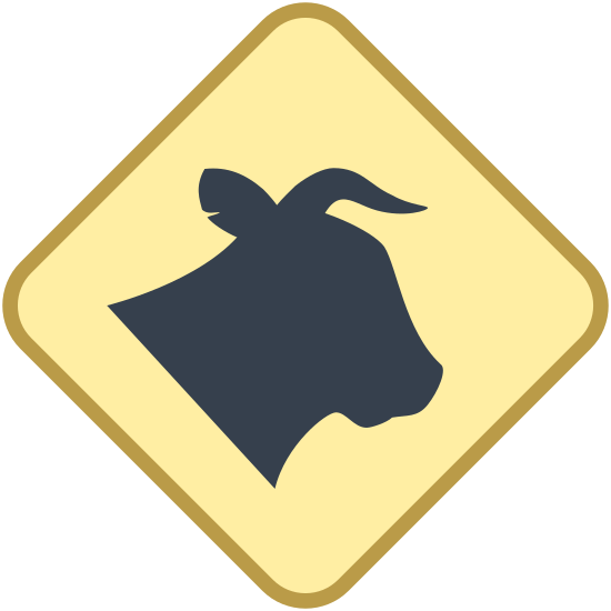 Znak Bydło icon. The image is a square with slightly rounded corners. One of the corners is pointed straight up. Inside the square is the head of an animal that appears to be a cow. The animal doesn't have a mouth or eyes the but nose is pointed to the right.