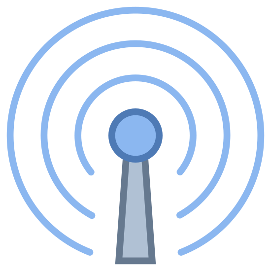 Réseau cellulaire icon. This icon is for cellular network service. In the center, it has a straight vertical line with a small circle on the top of it, indicating an antenna. There's one small, unclosed circle around the top of it, then a larger circle around that one.
