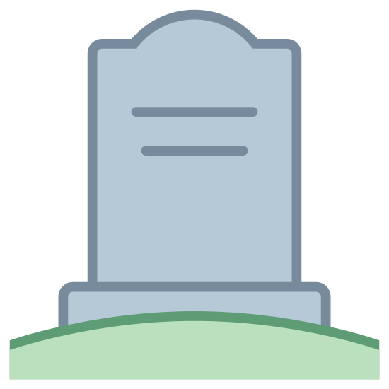 Cemetery icon. It is  place where the dead are buried under the ground. There are stone tablets called tombstone that let you know who is under the ground. Several tombstones make up what is called a cemetery,