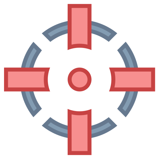 Center of Gravity icon. The icon has a cross shape at the center of it. Going around the cross is a dotted circle with four parts to it. The dotted circle takes up half of the cross shape which sticks out on all four ends.